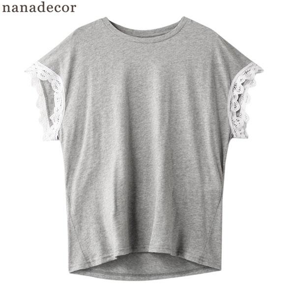nanadecor オーガニックコットン バテンレースTシャツ(2分袖) | オーガニック コットン Tシャツ 2分袖 二分袖 ナナデェコール バテンレース Tシャツ レディース ナチュラル かわいい 大人 上品 ルームウェア綿 ギフト プレゼント 春夏