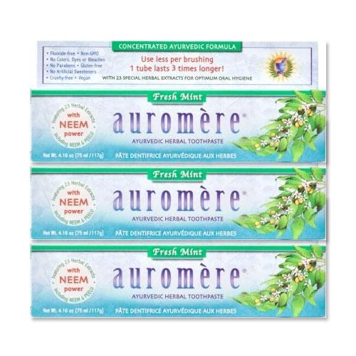 ナチュラルな成分の歯磨き粉 3個セット auromere 期間限定お試し価格 秀逸 アーユルヴェーダ フレッシュミント ハーバル歯磨き粉 各117g