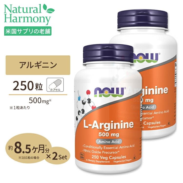 L-アルギニン 本物 サプリメント ダイエット 健康サプリ 動物性エキス アルギニン含有食品 NOW 500mg ナウフーズ 250粒 Foods 2個セット 送料0円