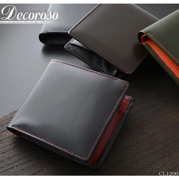 SIMPLE IS BEST 送料無料 DECOROSO 買い取り 二つ折り財布 馬革短財布 デコローゾ 超激安特価 メンズ CL-1200