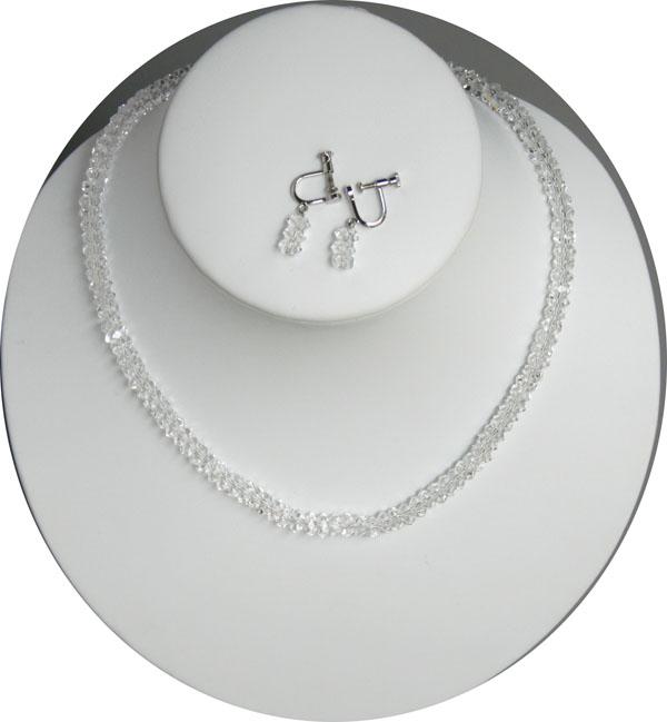 清涼感あるれるアクセサリーのコンビ ボタンシェープ多面カット 水晶ネックレス 売買 イヤリングセット セール特価