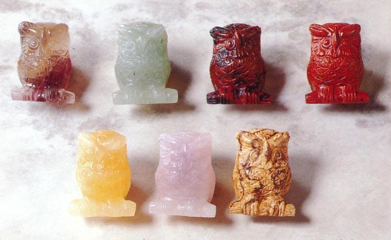 【風水】7色 天然石 フクロウの置物 【開運・縁起】 ふくろう オブジェ