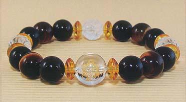 ガネーシャは 商業の神 超特価SALE開催 学問の神とされています 大特価 送料無料 ガネーシャ 蓮華玉 水晶 ブレスレット オニキス