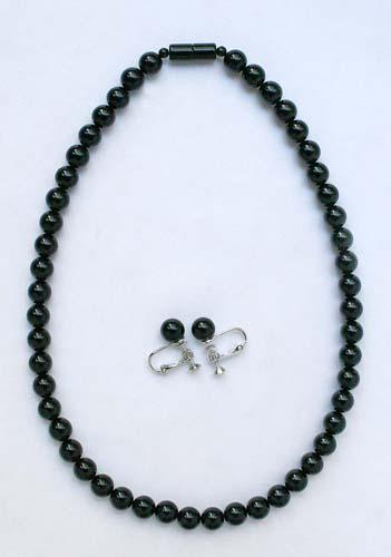 【送料無料】【天然】黒珊瑚ネックレス イヤリングセット 軽量 フォーマルジュエリー
