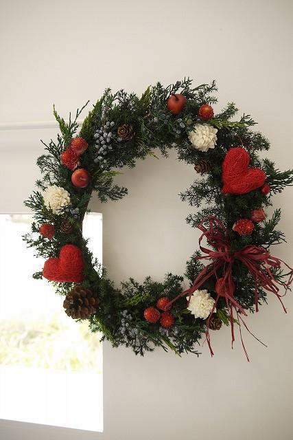 リース 玄関 外 夏 プリザーブドフラワーリース 「赤いハート」 玄関 土台 スタンド フック 還暦祝い プレゼント