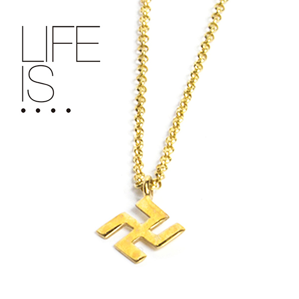 LIFE IS.... ネックレス スワスティカ SWASTIKA NECKLACE ライフイズ 10K ゴールド