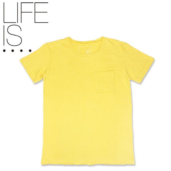 LIFE IS.... BIG POCKET TEE ライフイズ ビッグポケット Tシャツ イエロー