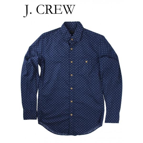 J.CREW ジェイクルー 抜染総柄 隠しボタンダウン シャツ ネイビー/ホワイト