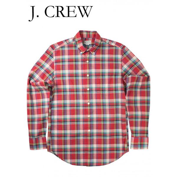 J.CREW ジェイクルー スリムフィット プレイド ボタンダウン シャツ レッド/ホワイト/グリーン