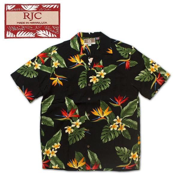 RJC ロバートJクランシー 半袖 アロハ シャツ レーヨン ハワイ製 JT ブラック