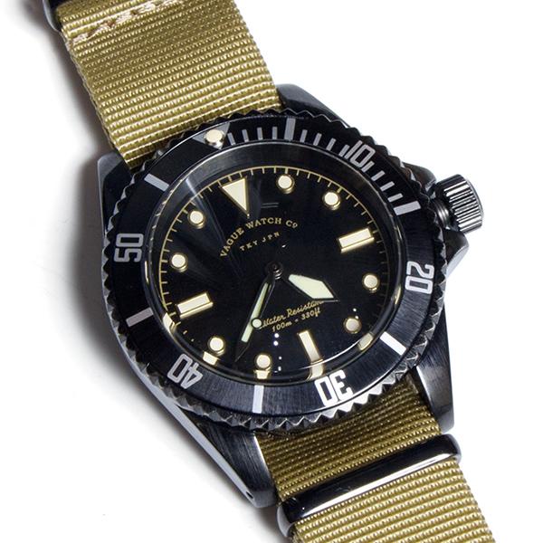 VAGUE WATCH Co. ヴァーグウォッチカンパニー BLK SUB 腕時計 ミリタリー ダイバーズ ナイロンベルト2本付き