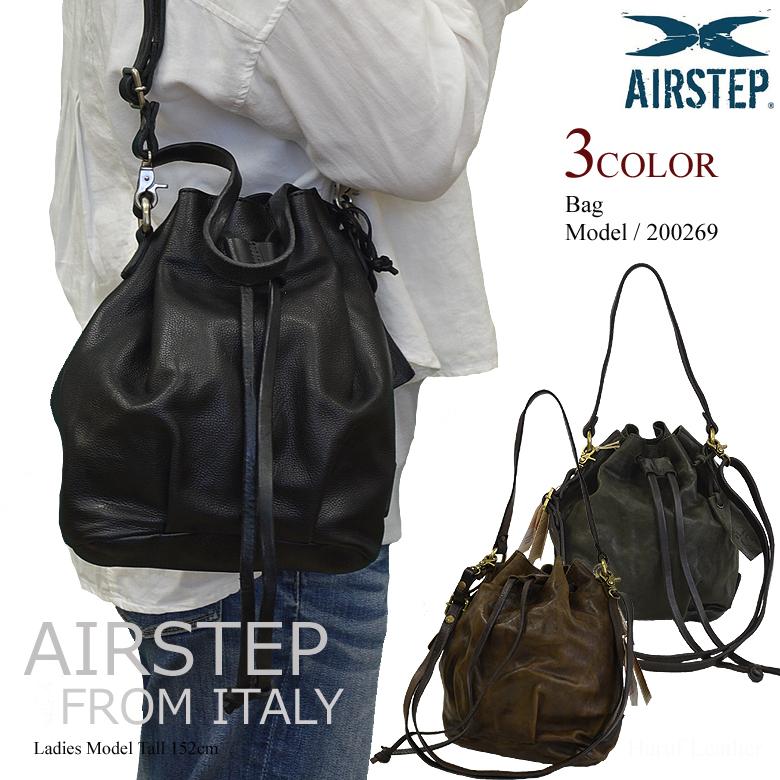 【AIRSTEP】軽量 ショルダーバッグ レザーバッグ 斜めがけ レディース 本革 軽い ミニバッグ 鞄 巾着バッグ 200269 春