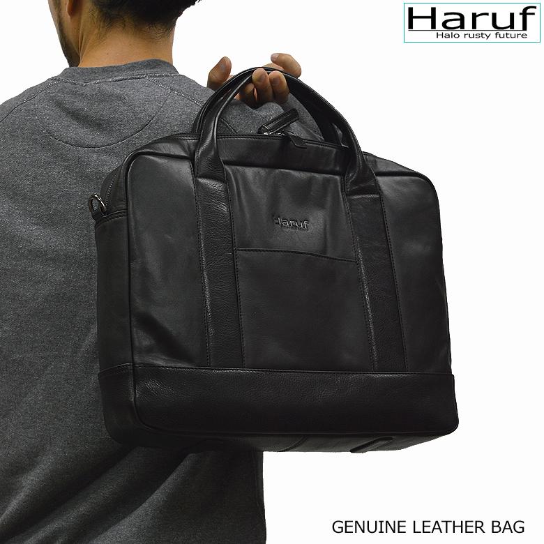 9f97a2a650b4 Haruf ビジネスバッグ 本革 メンズ 鞄 2way レザーショルダーバッグ 黒 ブラック ビジネスバッグ 本 ...