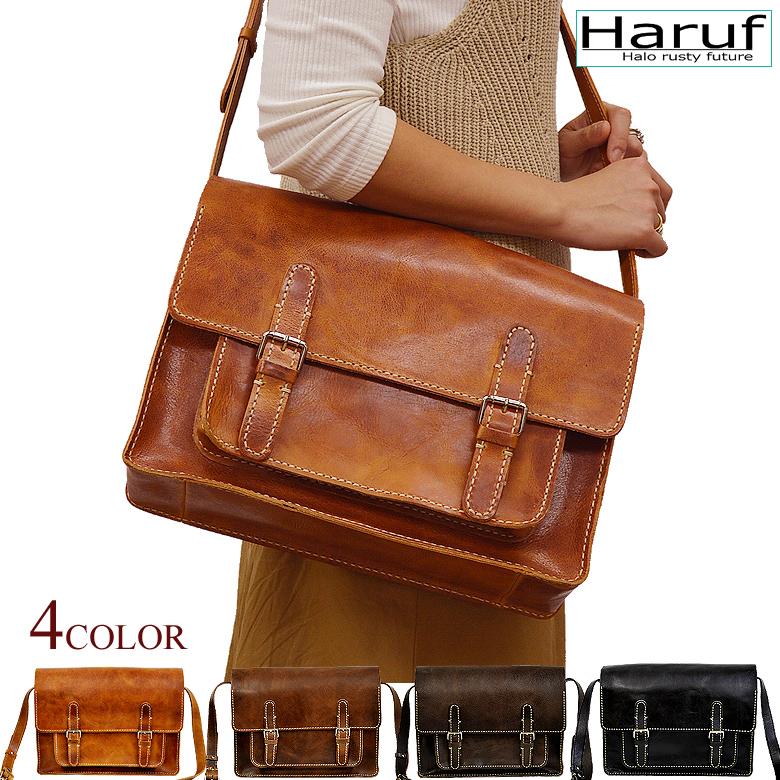 【Haruf】ハルフ レザー ショルダーバッグ 斜めがけバッグ レディース 本革 メッセンジャーバッグ 軽い a4 通勤 通学 旅行 鞄 レザーバッグ 88551L 春