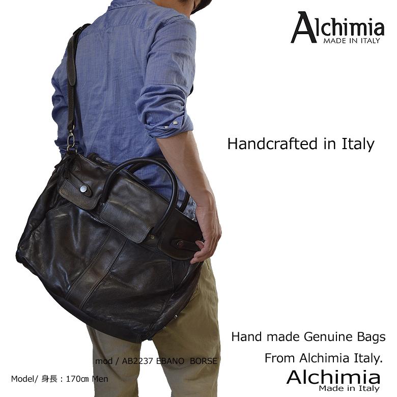 イタリア製 本革 レザーショルダーバッグ レザーバッグ 大型 大容量 旅行用バッグ レザーバック メンズ レディース アルキミア ブランド ab2237 春