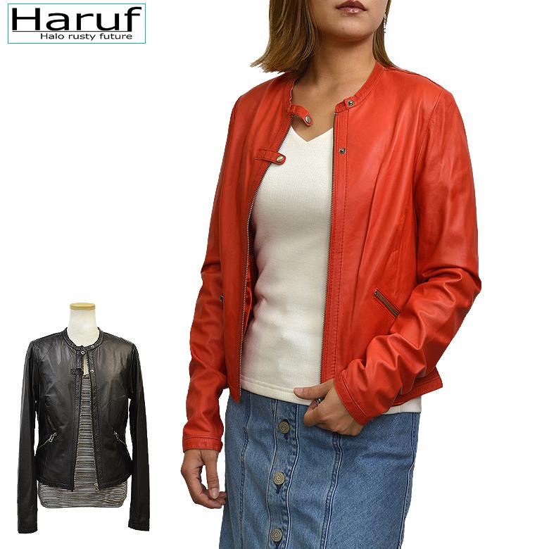 Haruf レザージャケット レディース ノーカラー 本革 ライダースジャケット 革ジャン 皮ジャン レッド 赤 レディースジャケット L3143RED 春