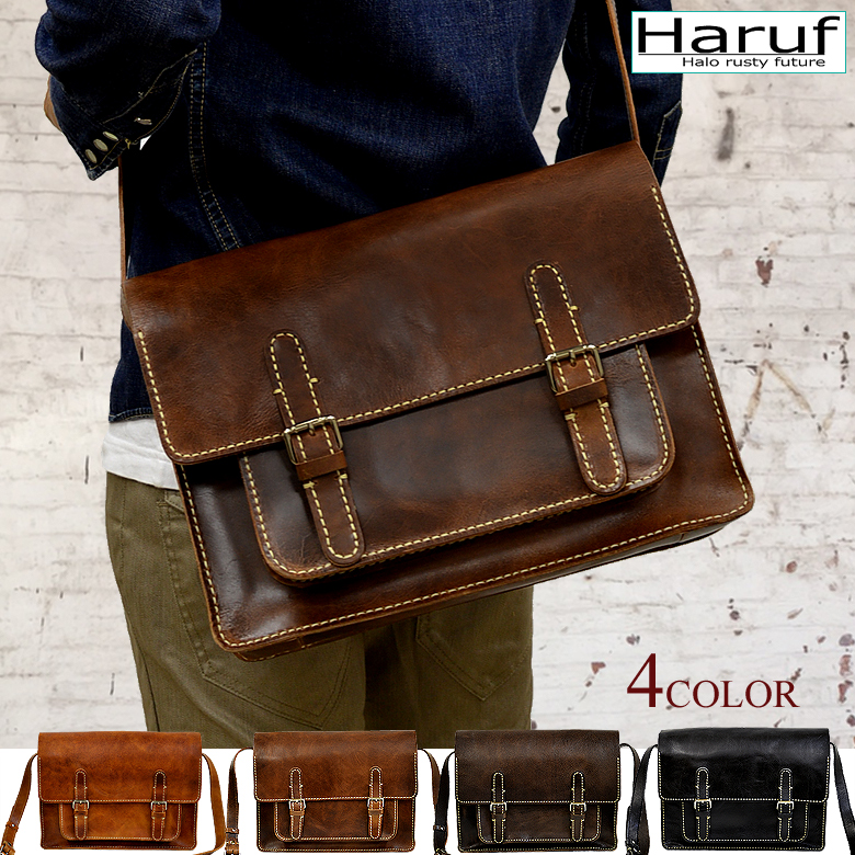 Leather Shoulder Bag Bags B5 Travel Oblique Hanging Commuter School Mens