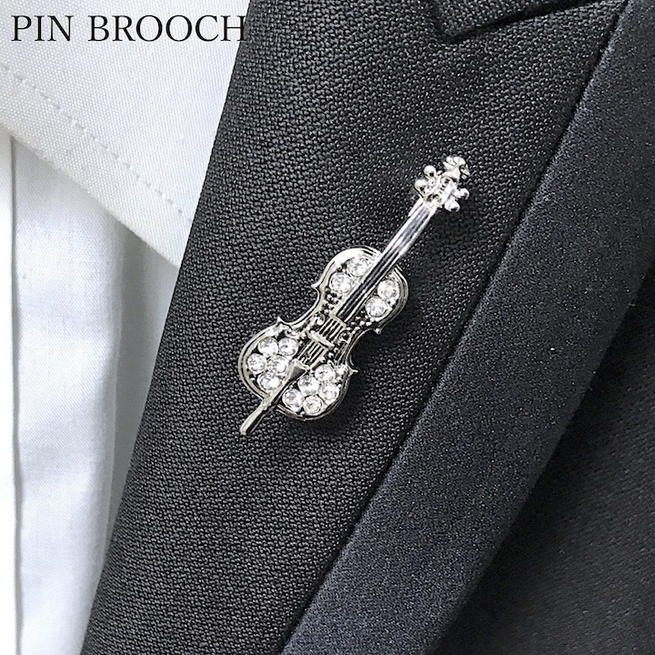●●Cello small shark musical instrument music lapel pin wedding ceremony  entrance ceremony brass band club Father's Day usual times errand stylish  gold
