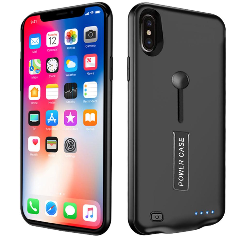 ■【進化版・スタンド機能】iPhoneXS Maxケース 専用充電ケース 軽量 薄型 バッテリーケース リング付き モバイルバッテリー ケース 大容量 急速充電 6500mAh 保護ケース
