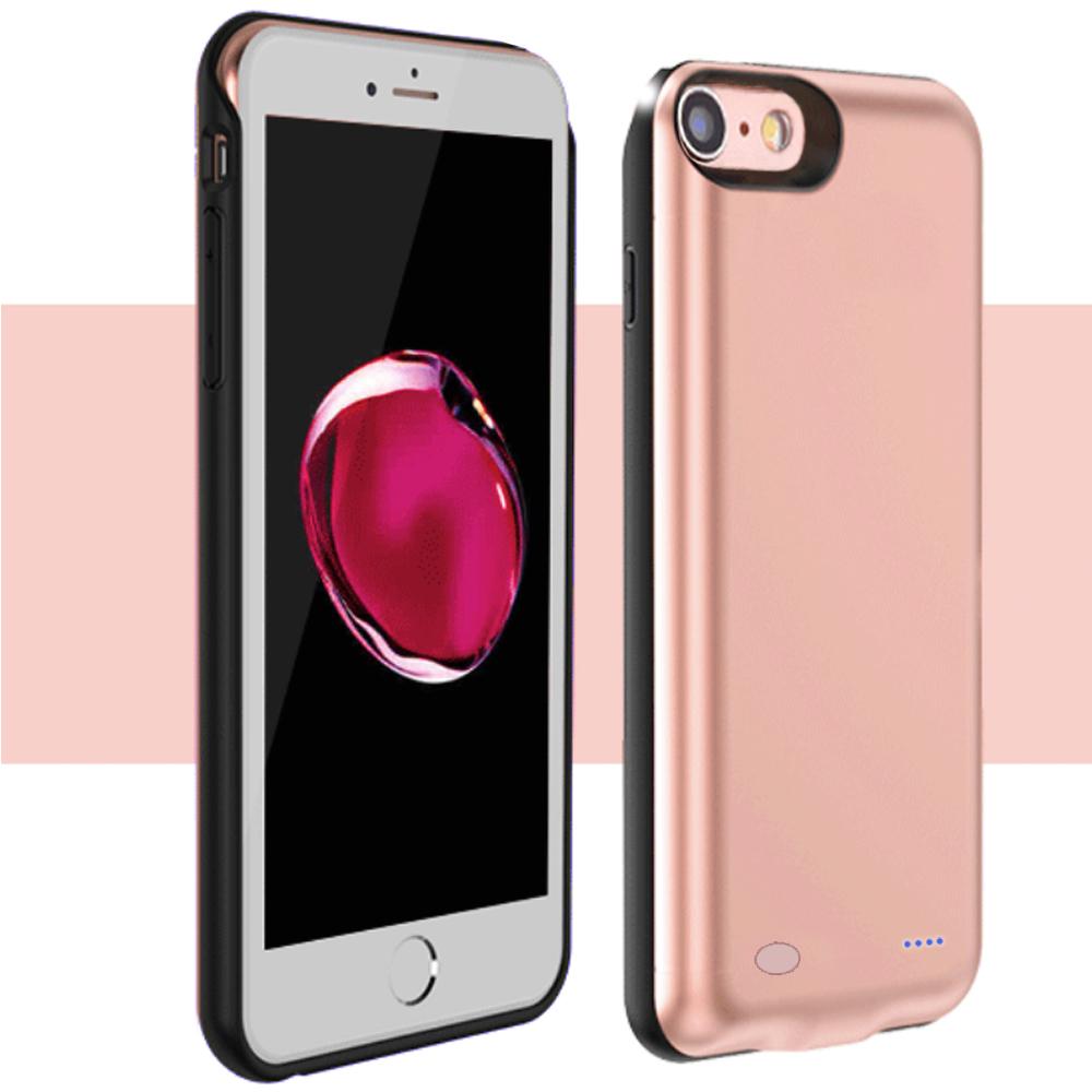 ■新品 iPhone 8 / 7 / 6s / 6 専用バッテリー内蔵ケース 6000mAh 急速充電 大容量 バッテリーケース 軽量 超薄 耐衝撃 ケース型バッテリー  モバイルバッテリー 4.7 インチ アイフォケース ローズゴールド