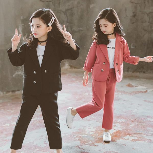 2色 韓国子供服 3点セット 春秋パンツ 長袖 長ズボン スーツセット 切り替え セットアップ ゆったり 卒園式 こども リゾート パンツ 入学式 キッズ 春秋 女の子 可愛い パーテ まとめ買い特価 日本全国 送料無料