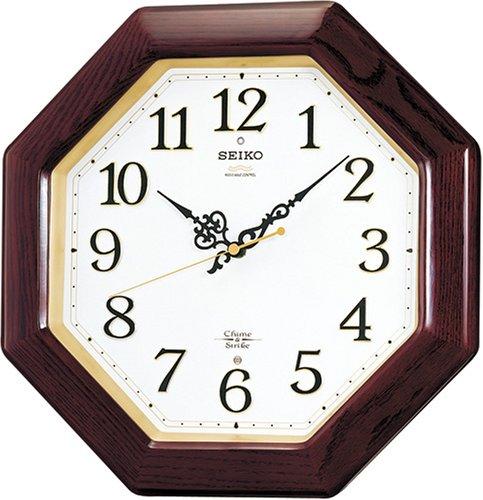 【名入れ 文字入れ無料】SEIKO CLOCK (セイコー クロック) 電波掛時計/掛け時計 ツイン・パ チャイム&ストライク 木枠 ブラウン RX210B