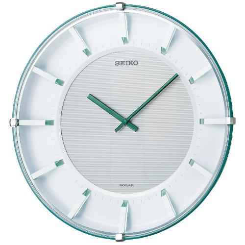 【名入れ 文字入れ無料】SEIKO CLOCK (セイコー クロック) ソーラーアナログ掛時計/掛け時計(薄緑) SF237M