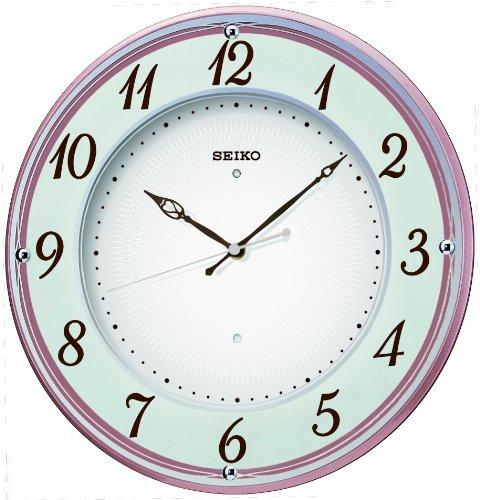 【名入れ 文字入れ無料】SEIKO CLOCK (セイコー クロック) 木枠スタンダード電波掛時計/掛け時計(薄ピンク) KX372P