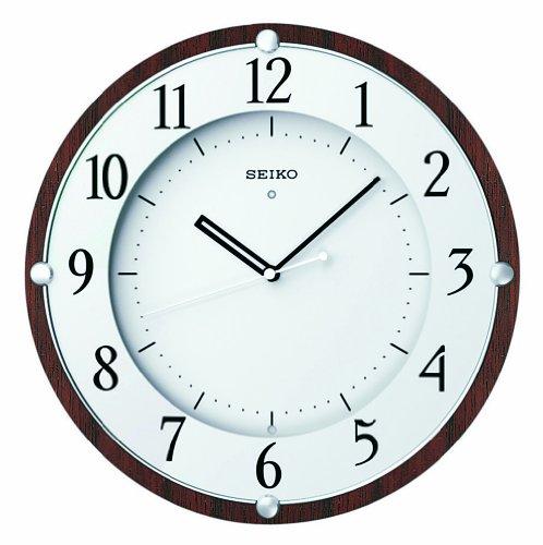 SEIKO CLOCK (セイコー クロック) クロック 電波掛時計/掛け時計 木枠(MDFウォルナットつき板貼り・茶木地塗装) KX373B