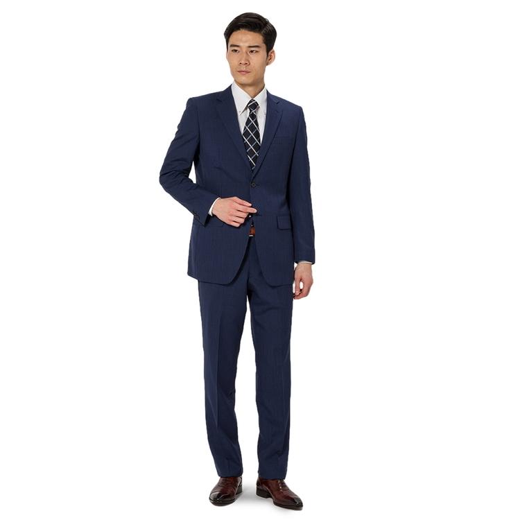 スーツ メンズ 背広 メンズスーツ 2つボタン 2ピース 防シワ パンツウォッシャブル ノータック ストライプ ネービー 春夏 ウール混 スタンダード Fusion Club フュージョンクラブ メンズファッション スーツのはるやま