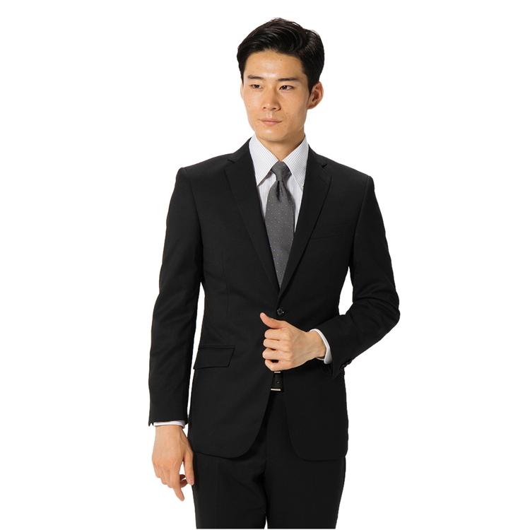 スーツ メンズ 背広 メンズスーツ 2つボタン 2ピース パンツウォッシャブル ノータック 無地 ブラック 通年 ウール混 スリム 就活 RESPECTNERO リクルートスーツ メンズファッション スーツのはるやま