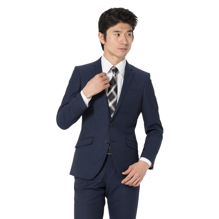 スーツ メンズ 背広 メンズスーツ 2つボタン 2ピース ノータック ブランド ストライプ ネービー 春夏 ウール混 スリム TETE by TETE HOMME テットオム メンズファッション スーツのはるやま
