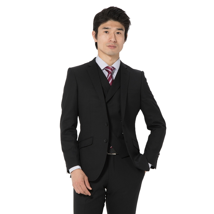 スーツ メンズ 背広 メンズスーツ 2つボタン 3ピース ベスト付 ジレ付 ノータック ブランド ストライプ ブラック 春夏 ウール混 スリム TETE by TETE HOMME テットオム メンズファッション スーツのはるやま