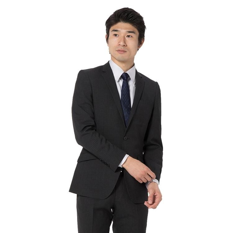 スーツ メンズ 背広 メンズスーツ 2つボタン 2ピース ノータック ブランド チェック グレー 春夏 ウール スリム TETE by TETE HOMME テットオム メンズファッション スーツのはるやま