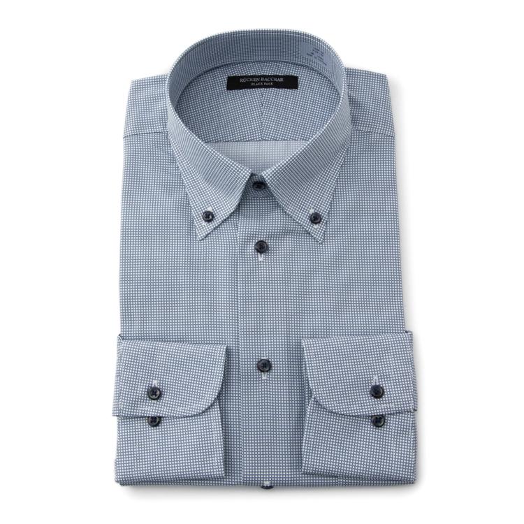 値下げ 割引 ワイシャツ メンズ Yシャツ 長袖 プリント ネイビー スーツのはるやま ボタンダウン セール価格 綿 通年 スリム リッケンバッカーブラックフェイス