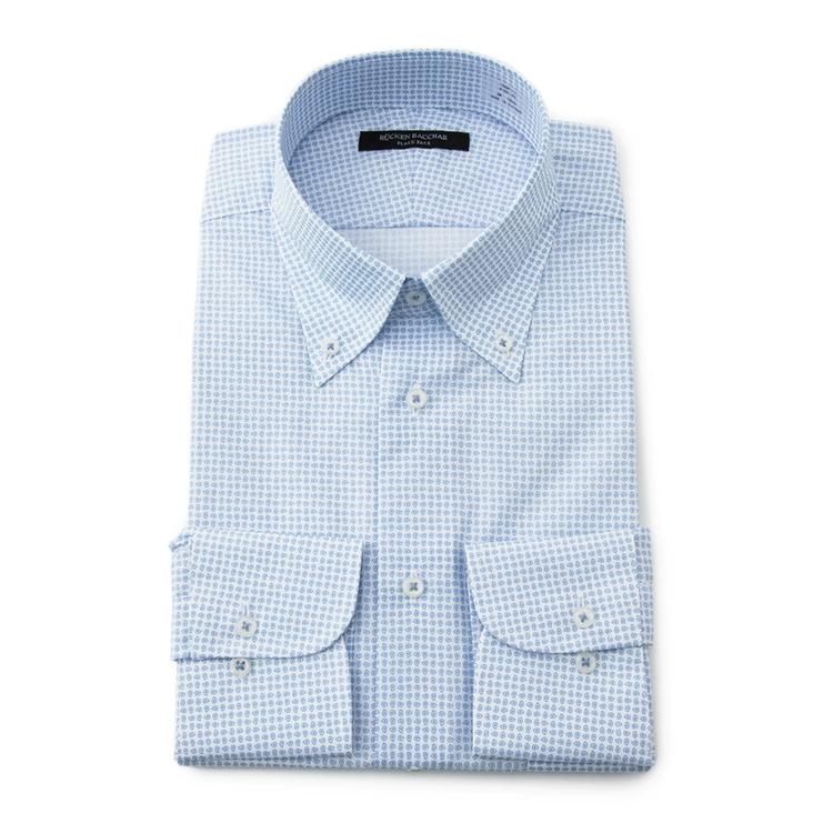 ワイシャツ メンズ Yシャツ カッターシャツ 長袖 プリント ブルー 通年 綿 スリム ボタンダウン RuckenBacchar黒face リッケンバッカーブラックフェイス メンズファッション スーツのはるやま