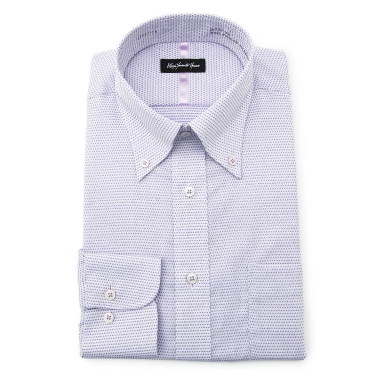 ワイシャツ 長袖 ヤマモトカンサイ 値下げ メンズ Seasonal Wrap入荷 Yシャツ カッターシャツ 形態安定 飛び柄 スーツのはるやま ボタンダウン 大人気 メンズファッション 綿 ラベンダー 通年 ゆったり KANSAIYAMAMOTO カンサイ