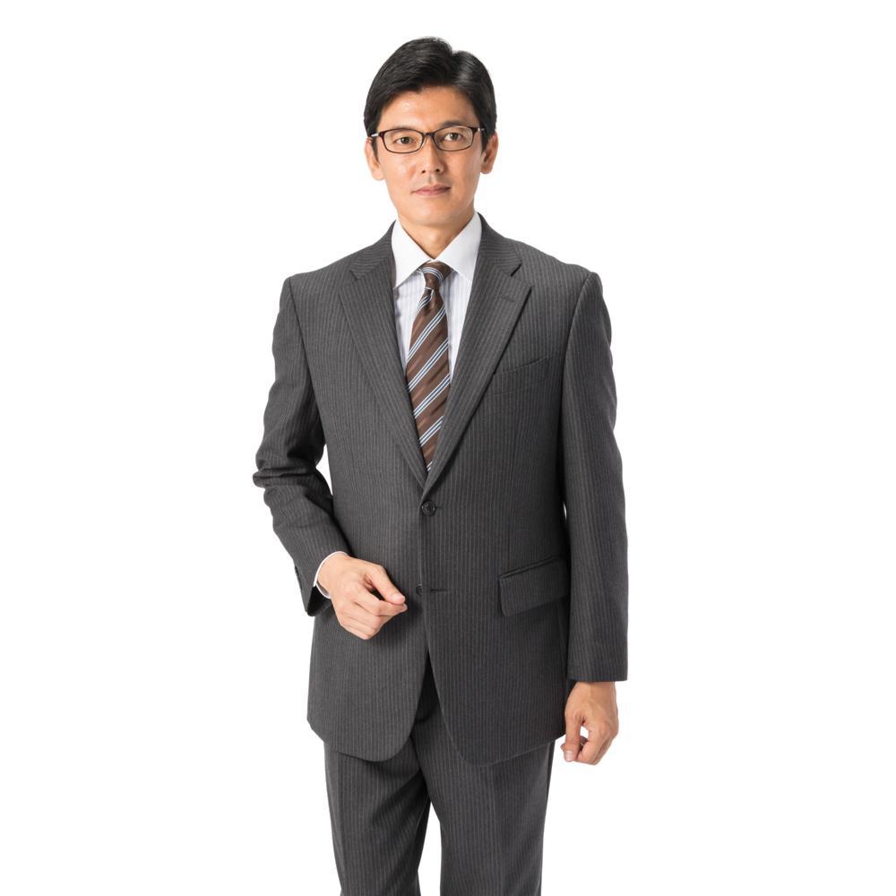 スーツ 2つボタン グレー ストライプ ゆったり KANSAIYAMAMOTO ワンタック ブランドスーツ ストレッチ
