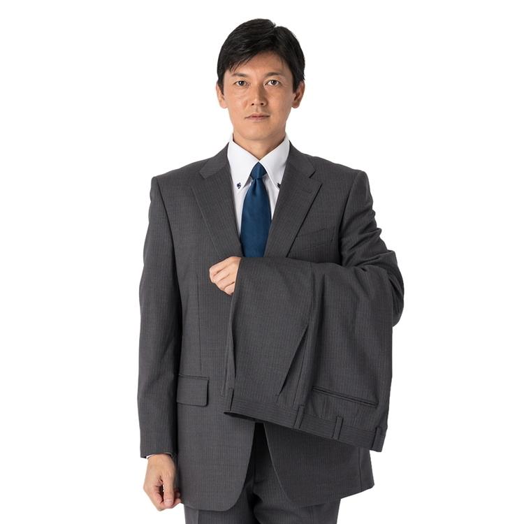 スーツ メンズ 背広 メンズスーツ 2つボタン 2ピース ツーパンツ ブランド ワンタック ストライプ グレー 春夏 ウール混 ゆったり KANSAIYAMAMOTO カンサイ メンズファッション スーツのはるやま