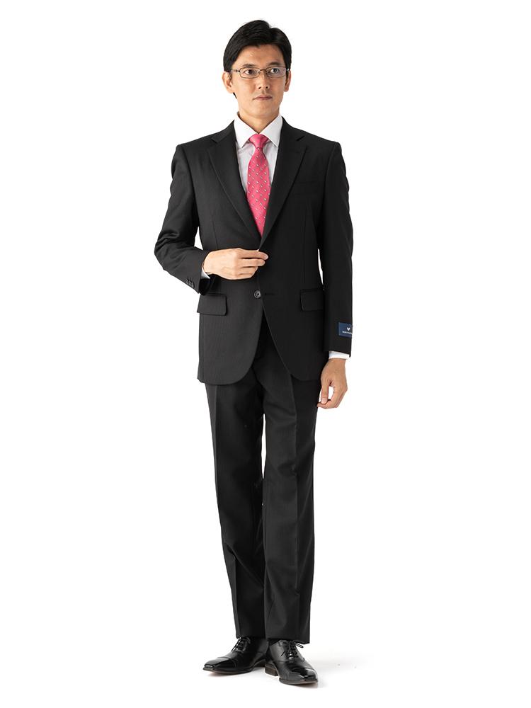 スーツ/2ピース/スタンダード/MARIO VALENTINO/秋冬/ブラック/ストライプ/ブランドスーツ/高級生地使用/ツーパンツ/