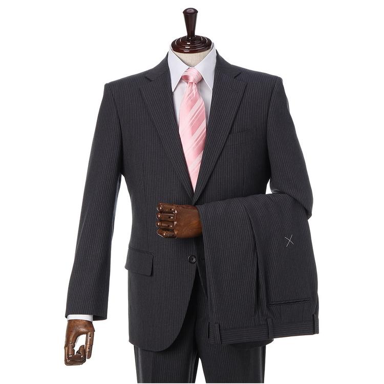スーツ メンズ 背広 メンズスーツ 2つボタン 2ピース ツーパンツ ストレッチ ノータック ブランド 高級生地 ストライプ グレー 春夏 ウール スタンダード MARIO VALENTINO マリオバレンチノ メンズファッション スーツのはるやま