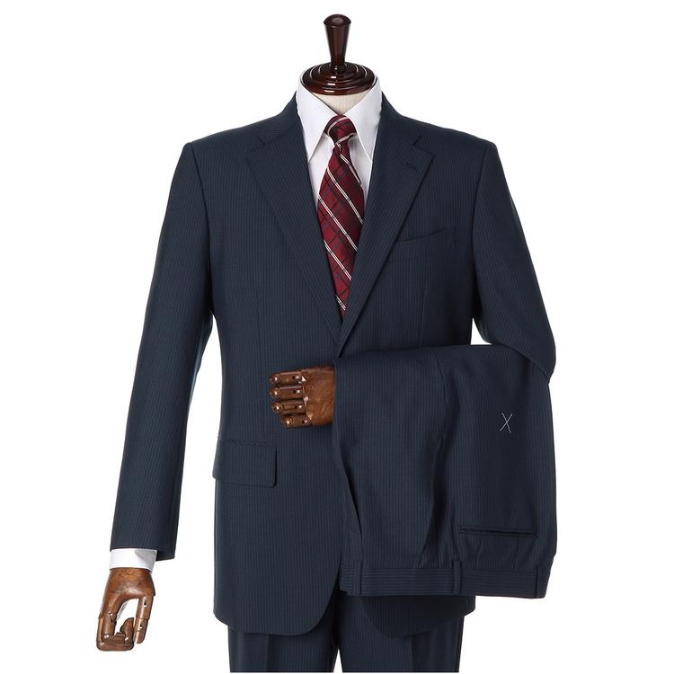 スーツ メンズ 背広 メンズスーツ 2つボタン 2ピース ツーパンツ ブランド ワンタック ストライプ ブルー 春夏 ウール混 ゆったり KANSAIYAMAMOTO カンサイ メンズファッション スーツのはるやま