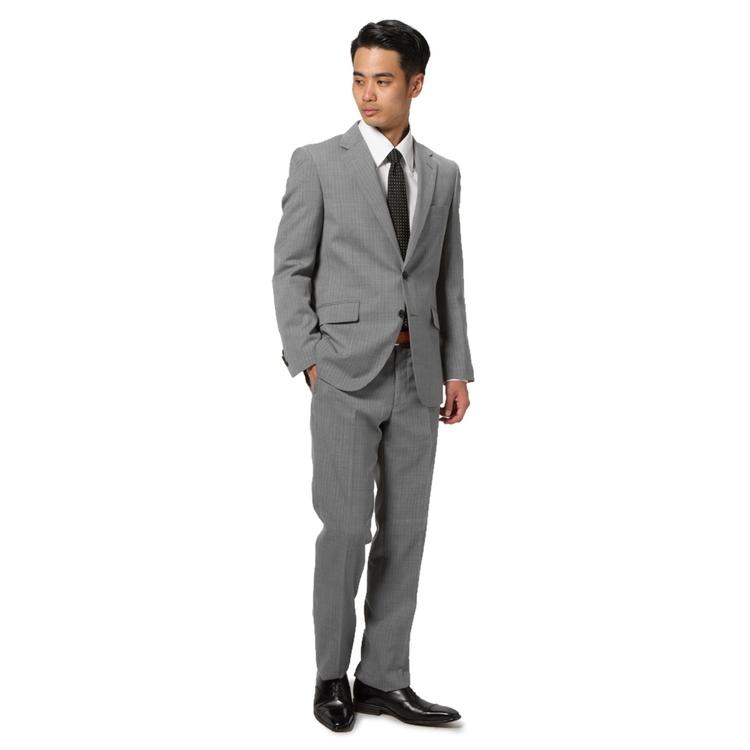 スーツ/2ピース/2つボタン/スマート/RuckenBaccharBlackface/春夏/L.グレー/ストライプ/ツーパンツ/超軽量スーツ/ストレス対策スーツ