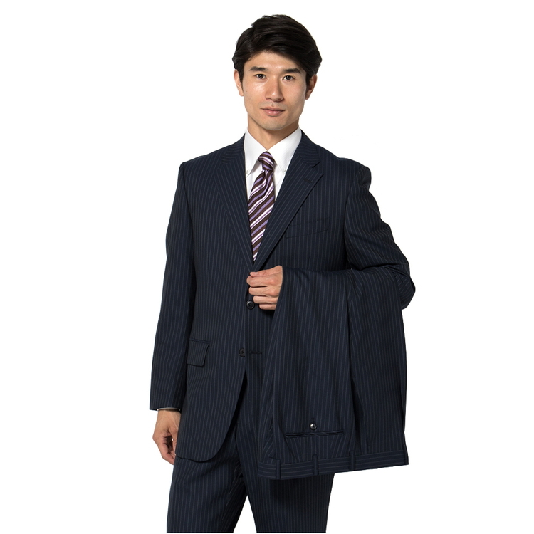 スーツ メンズ 背広 メンズスーツ 2つボタン 2ピース ツーパンツ ブランド ワンタック ダブルストライプ ブルー 春夏 ウール ゆったり KANSAIYAMAMOTO カンサイ メンズファッション スーツのはるやま