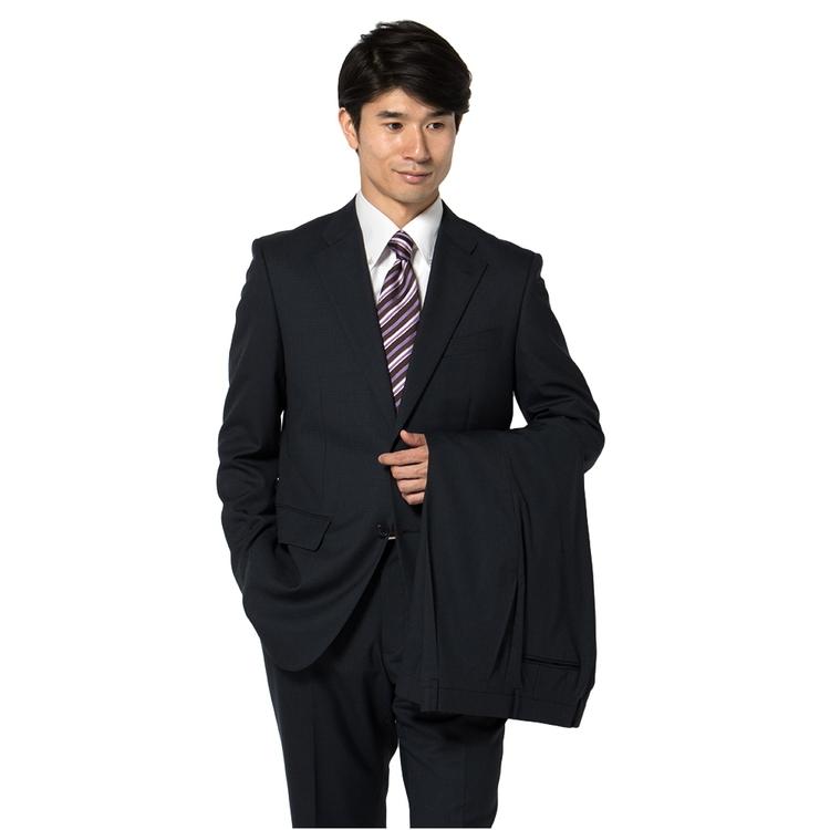 スーツ メンズ 背広 メンズスーツ 2つボタン 2ピース ツーパンツ ブランド ワンタック 千鳥格子 ネービー 春夏 ウール ゆったり KANSAIYAMAMOTO カンサイ メンズファッション スーツのはるやま