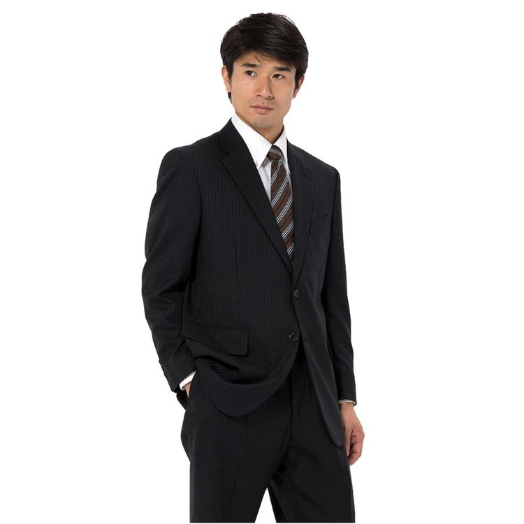 スーツ メンズ 背広 メンズスーツ 2つボタン 2ピース ブランド ワンタック ストライプ ネービー 秋冬 ウール混 ゆったり KANSAIYAMAMOTO カンサイ メンズファッション スーツのはるやま