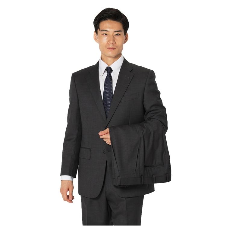 スーツ メンズ 背広 メンズスーツ 2つボタン 2ピース ツーパンツ ブランド ワンタック 無地 グレー 秋冬 ウール混 ゆったり KANSAIYAMAMOTO カンサイ メンズファッション スーツのはるやま
