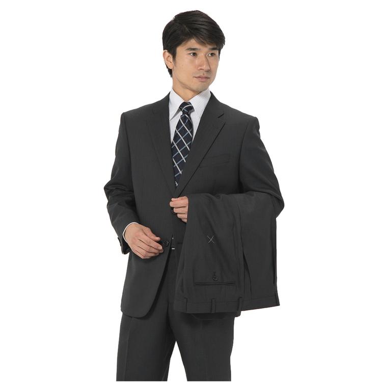 スーツ メンズ 背広 メンズスーツ 2つボタン 2ピース ツーパンツ ブランド ワンタック シャドウストライプ グレー 秋冬 ウール混 ゆったり KANSAIYAMAMOTO カンサイ メンズファッション スーツのはるやま