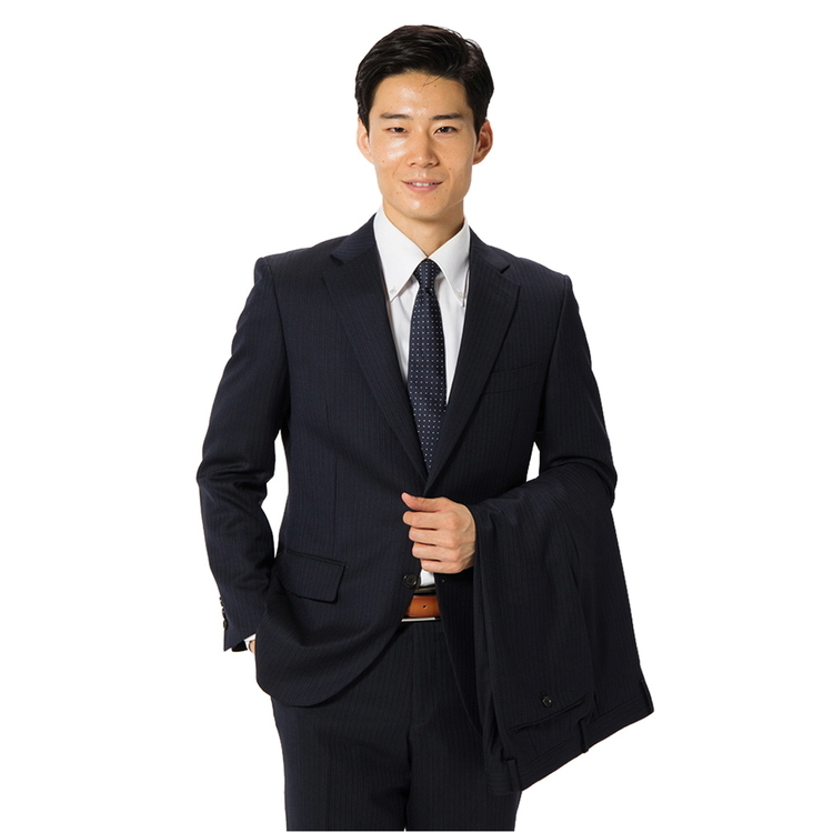 スーツ メンズ 背広 メンズスーツ 2つボタン 2ピース ツーパンツ ノータック ブランド 高級生地 ストライプ ネービー 秋冬 ウール スタンダード MARIO VALENTINO マリオバレンチノ メンズファッション スーツのはるやま
