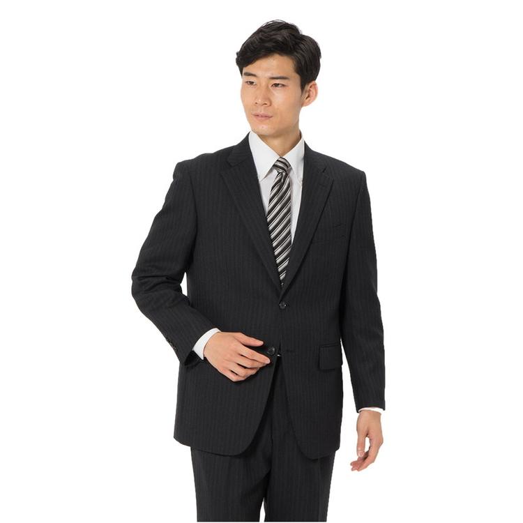 スーツ メンズ 背広 メンズスーツ 2つボタン 2ピース ブランド ワンタック ストライプ グレー 秋冬 ウール ゆったり KANSAIYAMAMOTO カンサイ メンズファッション スーツのはるやま